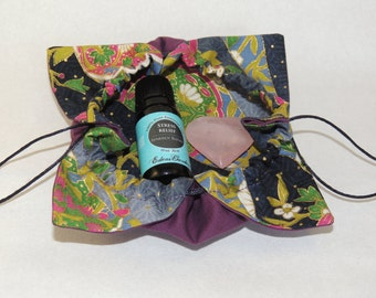Lotus Flower Shimmery Gold Accent Jewelry Pouch Gift Bag Zakka Kawaii Asian Fabric