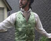 Green Chrysanthum  Silk Brocade Gentlemen's Victorian Steampunk Vest
