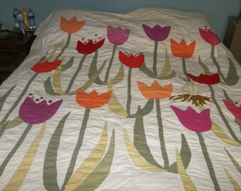 SALE Vintage Tulip Applique Quilt or Wall Hanging Happy Steampunk Upcycle