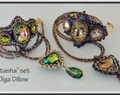 Natasha Set Beaded Embroidery Bracelet and Beadweaving Necklace