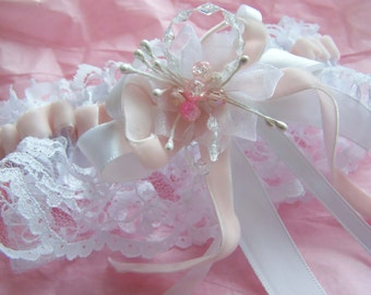 October Special- Breast Cancer Awarenes Pink Velvet Ribboned Garter-5.00 to go to Susan G Komen-CRBoggs Original Design