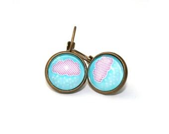 SALE - Cloud Earrings, Pink Rain Illustration Dangle Earrings