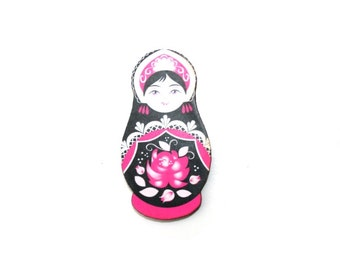 Russian Doll Brooch, Pink and Black Illustration, Wood Jewelry, Matryoshka Brooch