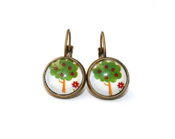 Apple Tree Earrings, Tree Illustration, Dangle Earrings