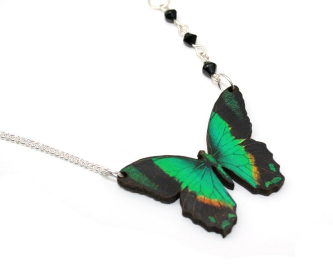 Emerald Green Butterfly Necklace, Wooden Butterfly, Illustration Pendant, Asymmetrical Necklace, Woodland, Animal Necklace