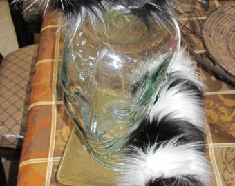 "Cheshire cat 30""tail & ears white/black striped luxury shag faux fur costume set"