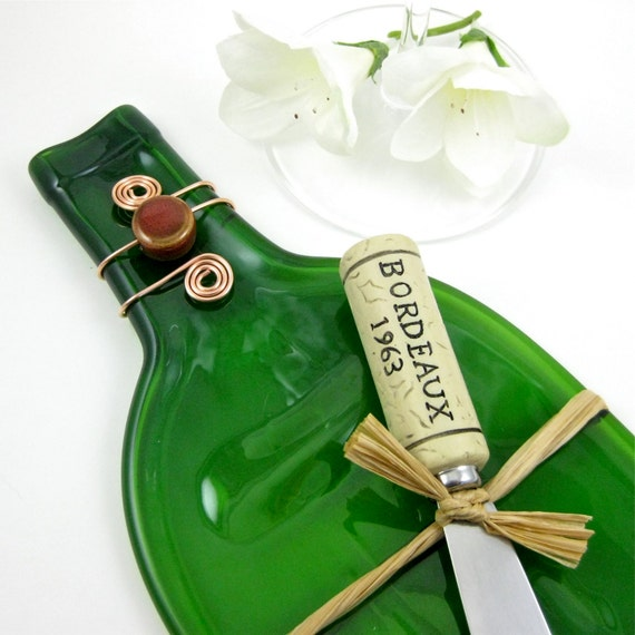 Recycled Glass Wine Bottle Cheese Tray Emerald Green Melted Bottle Plate