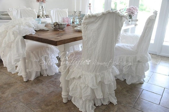 shabby chic dining room chair covers | Shabby Chic Romance...White Cotton Ruffled Slipcover...Fits