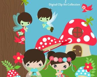 Woodland Sprites Fairy Friends  Digital Clip art, clipart collection
