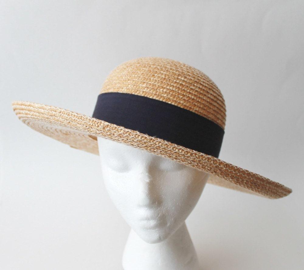 1990 S Banana Republic Wide Brim Round Top Straw Hat