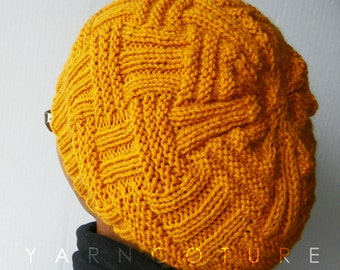 The Basketweave Textured Hat - In MUSTARD / UNISEX / Winter, Spring,Summer, Fall Fashion Slouch Hat