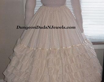DDNJ Renaissance Civil War Embroidered Cotton Lace Skirt Hoop Crinoline Wedding Cosplay Anime Steampunk Plus Custom Made ANY Size Costume