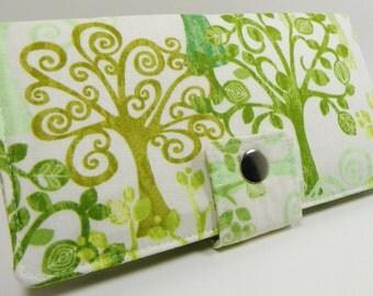 Handmade vegan Long Wallet  BiFold Clutch - Love a tree Organic Cotton or half size unisex wallet