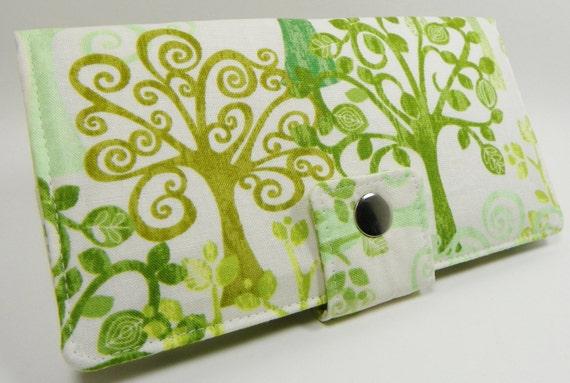 Handmade vegan Long Wallet  BiFold Clutch - Love a tree Organic Cotton