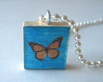 Pretty Butterfly Scrabble Tile Necklace