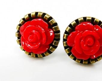 Earrings Post Earstuds Studs Red Antique Bronze Rose Flower Earrings
