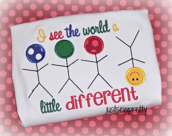 See the World Different Awareness Embroidery Applique Design