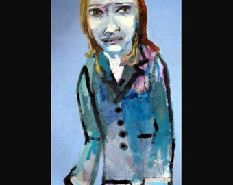 outsider EMERY original painting 'silver cooked and cleaned in her nice clothes'