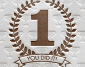 Letterpress Congratulations You Did It in Brown
