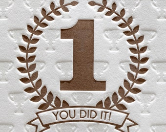Letterpress Congratulations You Did It in Brown Congratulations Hooray Achievement