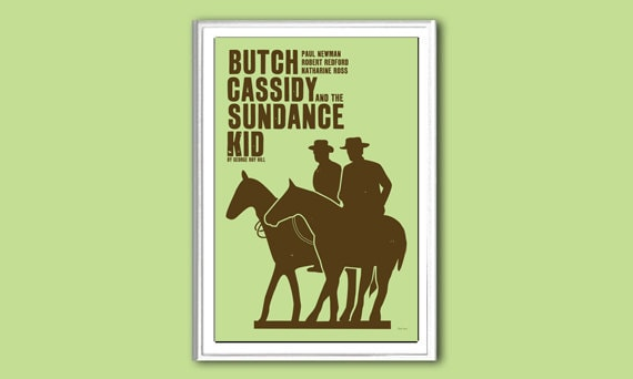 Movie poster Butch Cassidy and the Sundance Kid retro print in various sizes