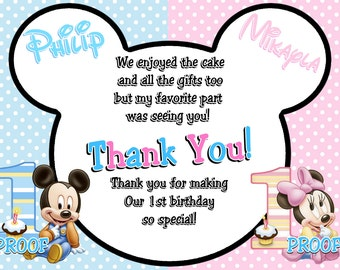 Baby Mickey Mouse & Baby Minnie Mouse Twins 1st Birthday Thank You Cards