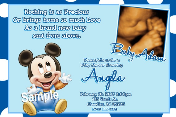 mickey mouse baby shower invitations baby mickey mouse baby, Baby shower