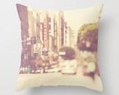 Los Angeles throw pillow cover, urban home decor, loft decor, LA photo, neutral cream red, cushion cover, modern, dorm pillow case 16x16