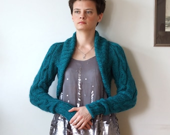 Avant garde braided SHRUG in teal with long sleeves, modern urban hand knitted bolero, spring fashion