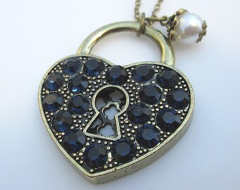 SAPPHIRE BLUE Locked Heart Necklace