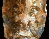 Small Painted Portrait in Gold on Salvaged Wood