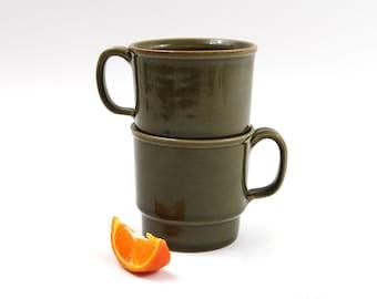 1960s Dark Avocado Green Ceramic Mugs | Nesting