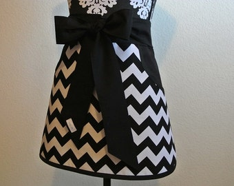 Black and White Chevron Adult Half Apron with Pockets