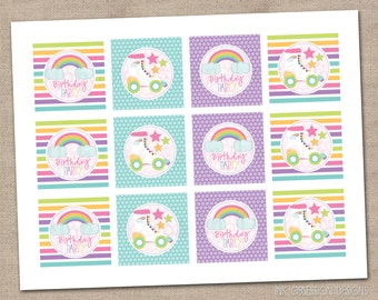 Roller Skating Party Cupcake Toppers Printable PDF - INSTANT DOWNLOAD