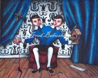 Didymus Original Painting, Conjoined Twins, Doubting Thomas, St. Thomas, Birdhouse, Blood, Tocci, Siamese Twins, Victorian Themed Art,