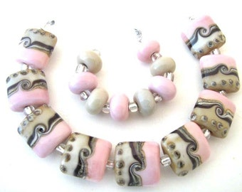 Pink and Beige Nuggets Lampwork Beads