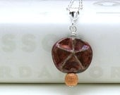 Sand Dollar and Sterling Silver Pendant Necklace Star Fish Modern Pendant Necklace Coppery Beach All Seasons