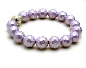 Lavender Beaded Bracelet, Pastel Shell Purple Stretch Bracelet, For Her Under 50