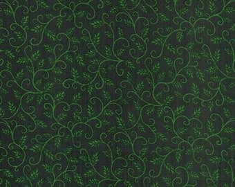 Clearance Sale - Half-yard Cut - Black and Green Vines - fabric BQ6581B