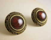 Red and Gold Art Deco Stud Earrings - Bronze and resin studs - Surgical Steel Posts - Valentine's Gift