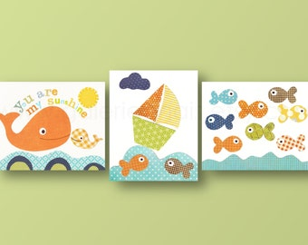 Whale Boat fish orange blue yellow bathroom Nursery art baby nursery nautical you are my sunshine Set of three prints Kids
