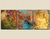 """Triptych art stretched canvas print, 20x48, in earthy hues, from abstract painting """"Chocolate Persuasion"""""""