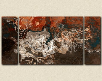 "Oversize abstract expressionism stretched canvas print, 30x60 to 40x78 triptych in earth tones, from abstract painting ""Hammered Copper"""