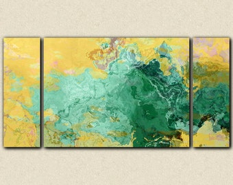 "Oversize abstract modern art triptych stretched canvas print, 30x60 to 40x78 in turquoise and yellow, from abstract painting ""Oasis"""