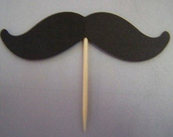 Mustache cupcake toppers black, set of 12, or choose your colors |Ships in 1 business day