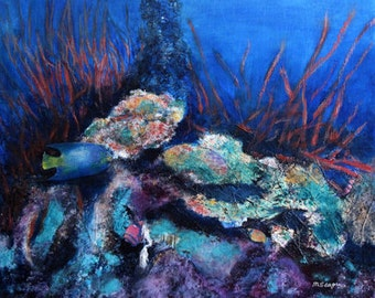 Art Painting Original Acrylic Water Corral Reef Design Blue Teal