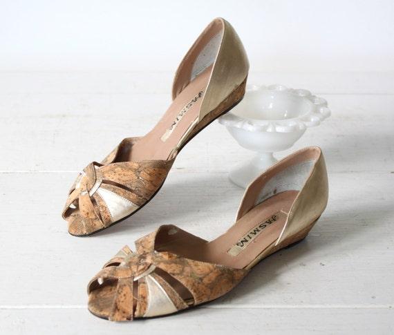 vintage peeptoe shoes size 7 cork gold wedge sandals
