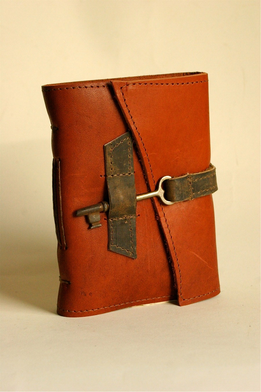 Old Book Cover Ideas : Red leather journal with handmade paper by binding bee in