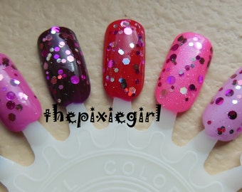 Pink, Silver, Holographic Glitter Circle Dot Indie Nail Polish Handmade Lacquer in Suspension Base