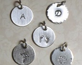 """Add a Charm Petite 1/2"""" Circle Charm Hand Stamped Sterling Silver Initial or Art Stamp Charm - Add on Charm - Add an Initial Charm"""